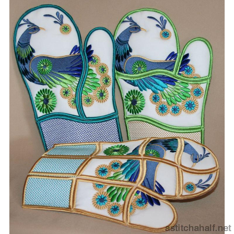 Peacock Oven Gloves Applique