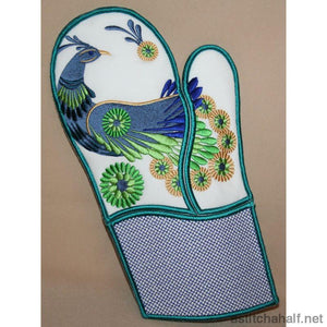Peacock Oven Gloves - a-stitch-a-half