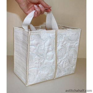 Pearly White Feathery Light Tote Bag - a-stitch-a-half