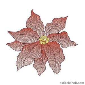 Poinsettia Flower Transparency Embroidery Fill