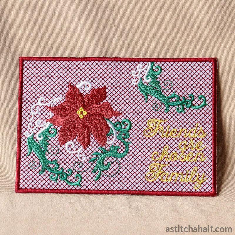 Poinsettia Friends Are Chosen Family Applique