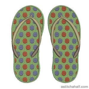 Polka Dot Flip Flops Embroidery Fill