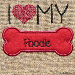 Poodle Dog Silhouette Applique