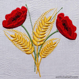 Poppies and Grain - a-stitch-a-half