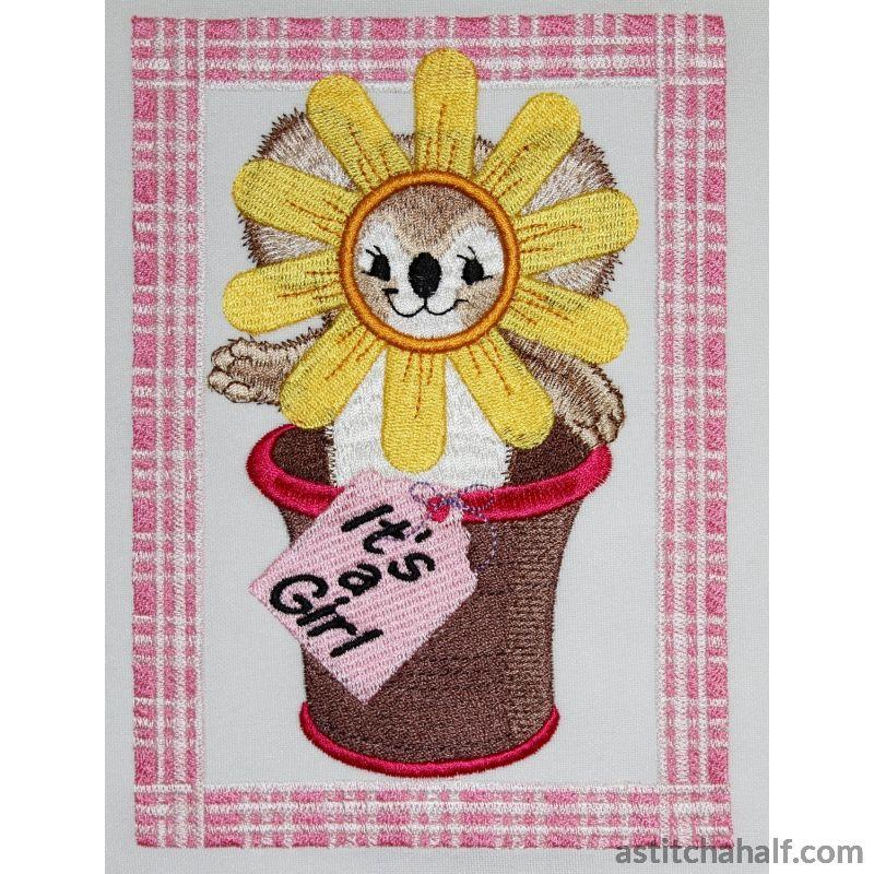 Potted Sunflower Fuzzy Girl Embroidery Fill
