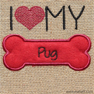 Pug Dog Silhouette Applique