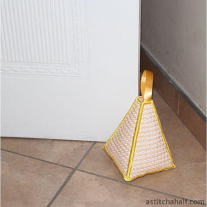 Pyramid Door Stop Checkered Lace - a-stitch-a-half