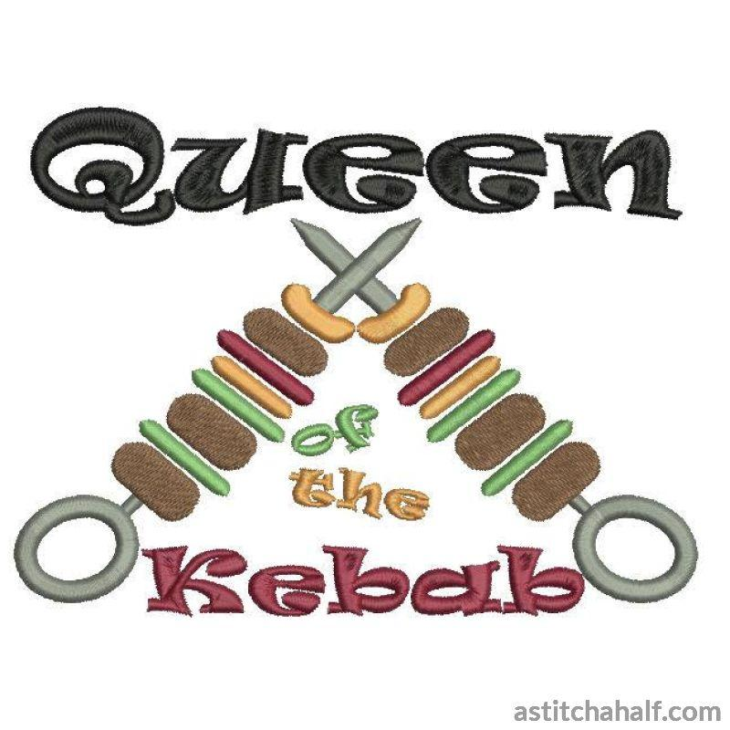 Queen Of The Kabob Or Kebab Embroidery Fill