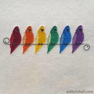 Rainbow Budgies Embroidery Fill