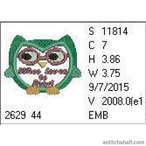 Reading Owl Embroidery Fill