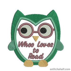 Reading Owl - a-stitch-a-half