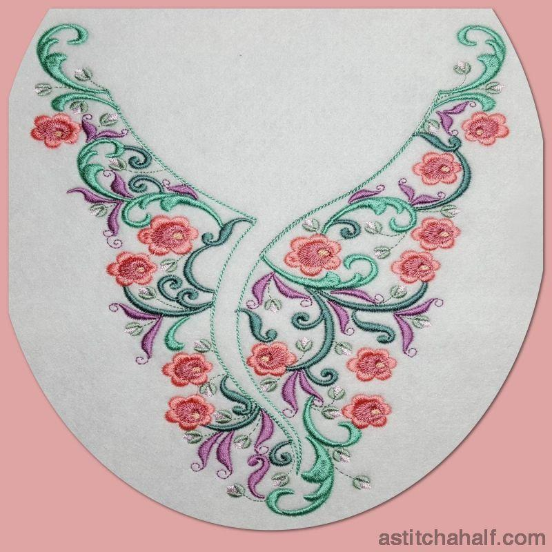Romantic Roses Neckline Embroidery Collection - a-stitch-a-half