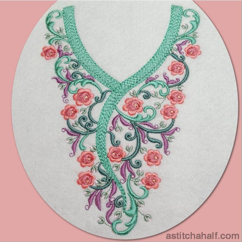 Romantic Roses Neckline Embroidery Collection Fill