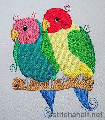 Rosy Faced Love Birds - a-stitch-a-half