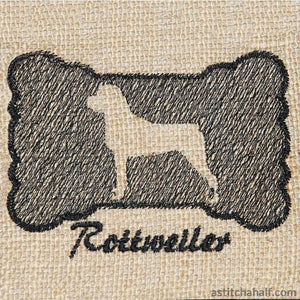 Rottweiler Dog Silhouette Applique