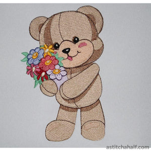 Rupert Bear With Flowers Embroidery Fill