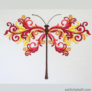 Saffron Dragonfly Embroidery Fill