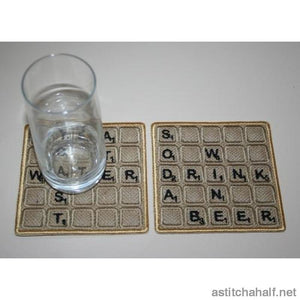 Scrabble Coasters - a-stitch-a-half
