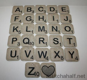 Scrabble Key Tags Applique