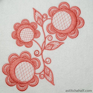 Simple Accent Flowers Embroidery Fill