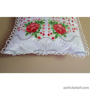Sleep On Roses Pillow Quilt Combo Embroidery Fill