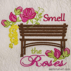 Smell The Roses Garden Seat Embroidery Fill