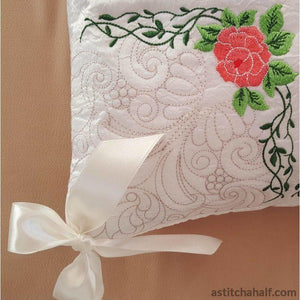 Snow White Pillow Quilt Rose Combo Embroidery Fill