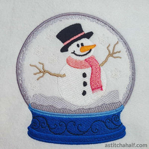 Snowman Snow Globe Embroidery Fill