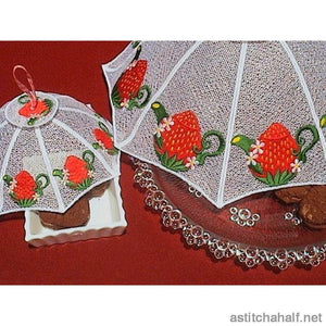 Strawberry Teapot Food Tent Freestanding Lace