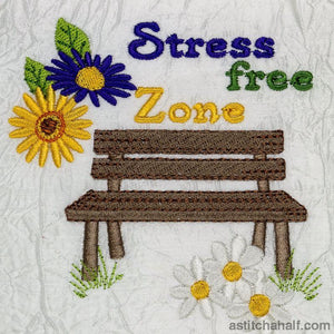 Stress Free Zone Garden Seat Embroidery Fill