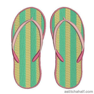 Striped Flip Flops Embroidery Fill