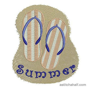Super Summer Flip Flops Embroidery Fill
