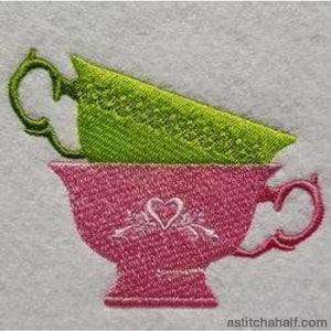 Tea Cups Embroidery Fill