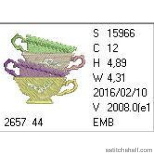 Tea Cups Stack - a-stitch-a-half