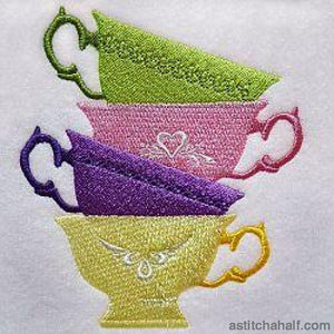 Tea Cups Stack Embroidery Fill