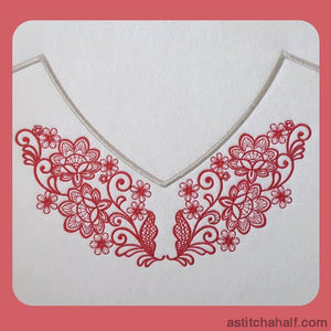 Tears In Flowers Neckline Combo Embroidery Fill