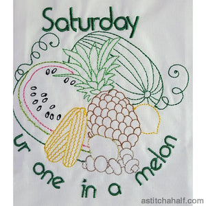 Top Chef Pantry Days Of The Week Combo Embroidery Fill Running Stitch