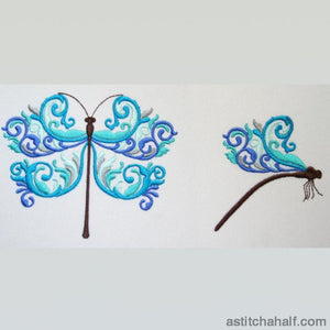 Turquoise Dragonfly Embroidery Fill