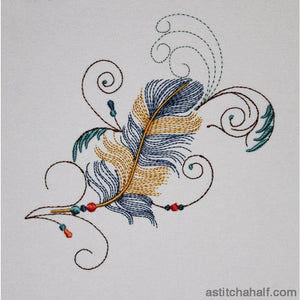 Twirly Beaded Feather Embroidery Fill
