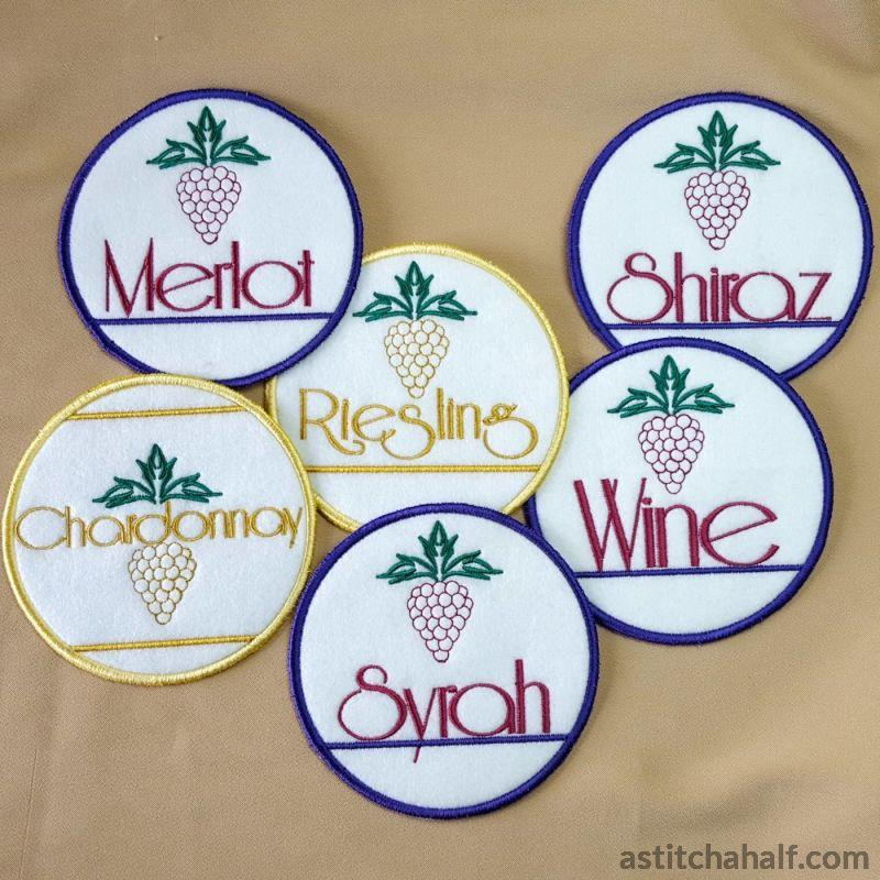 Vino Lettering And Coasters Embroidery Fill