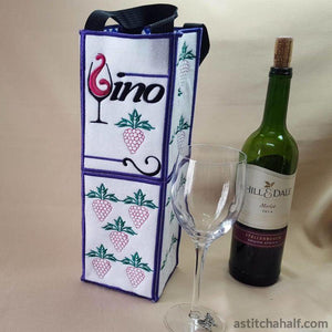 Vino Wine Bottle Tote - a-stitch-a-half