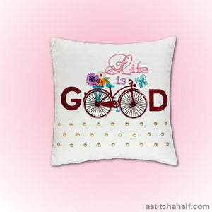 Vintage Bicycle Life Is Good Embroidery Fill