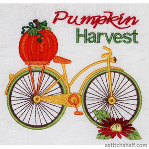 Vintage Bicycle Pumpkin Harvest Embroidery Fill