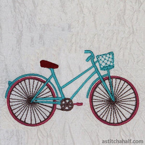 Vintage Bicycle With Balloons Embroidery Fill