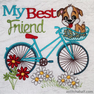 Vintage Bicycle with Doggy in Basket - a-stitch-a-half