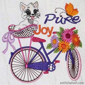 Vintage Bicycle With Kitten In Basket Embroidery Fill