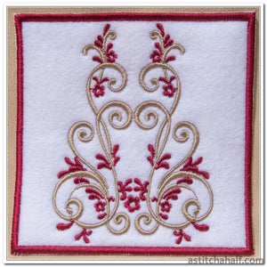 Vintage Burgundy Mug Rug And Design Embroidery Fill