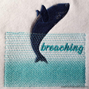 Whale Breaching Embroidery Fill