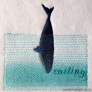 Whale Sailing Embroidery Fill