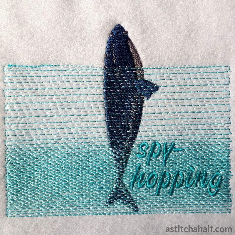 Whale Spyhopping Embroidery Fill